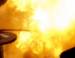 Sprängskarv i detonationsögonblicket. Foto: Östersundsposten